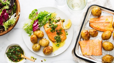 Sheet Pan Trout with Roasted Potatoes and Herb Sauce