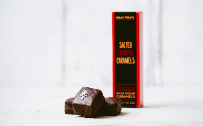 Salted Crispy Rice Dark Chocolate Caramels