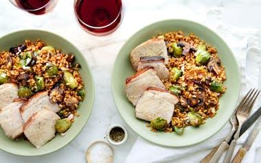 One-Skillet Pork Chop with Mushroom & Barley Salad