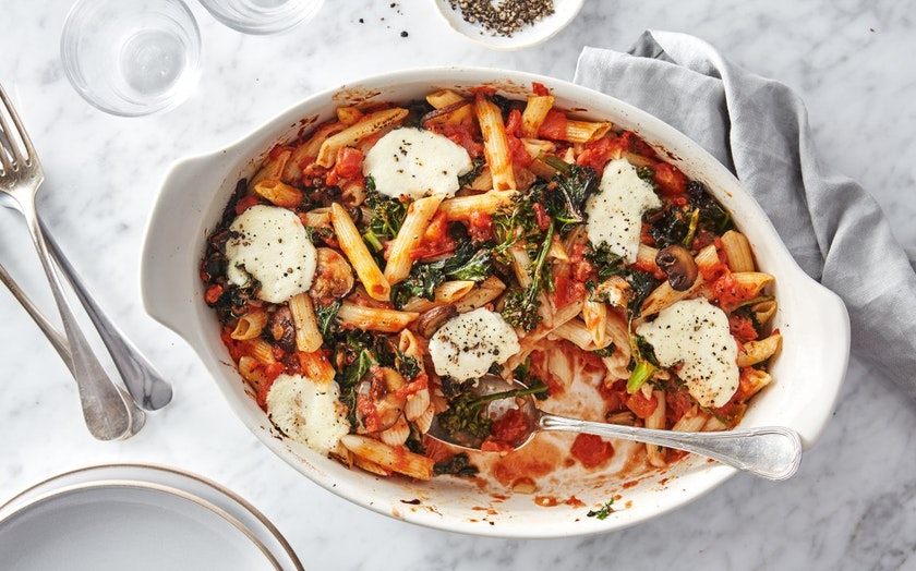 Quick Baked Pasta with Kale & Mushrooms