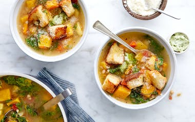 Autumn Minestrone Soup with Beans & Winter Squash