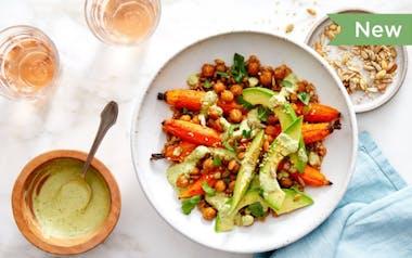 Farro Grain Bowls with Roasted Carrots & Crispy Chickpeas