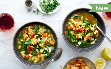 Chicken & White Bean Stew with Greens & Breadcrumbs