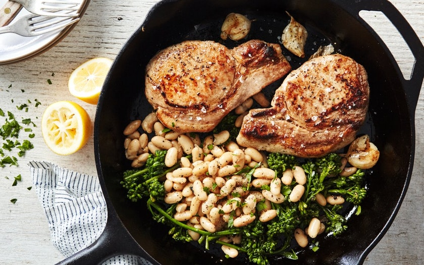 One-Pan Seared Pork Chops & Baby Broccoli