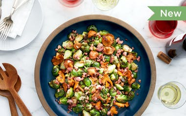 Roasted Brussels Sprouts with Bacon & Wild Mushrooms