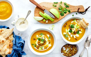 Brown Butter Squash Soup with Tart Apple & Curried Pepitas