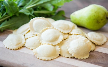 Goat Cheese, Pear & Arugula Ravioli