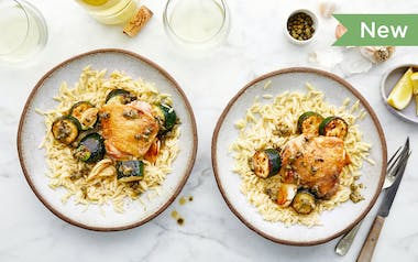 One-Pan Chicken Thighs with Squash, Lemon & Capers