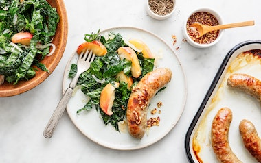 Sheet Pan Pork Sausage with Baked Apples & Kale