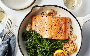 One-Pan Baked Salmon & Baby Broccoli