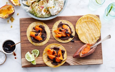 Sweet Potato Tacos with Passion Fruit Salad