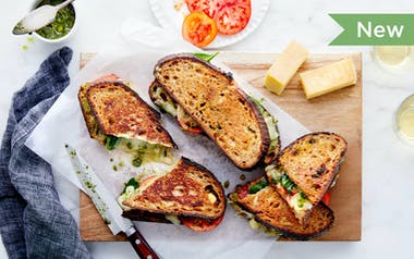 Pesto Grilled Cheese with Tomato & Spinach