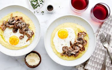Polenta with Wild Mushrooms & Fried Eggs