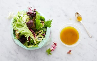 Pre-Washed Salad Greens with Roasted Scallion Vinaigrette