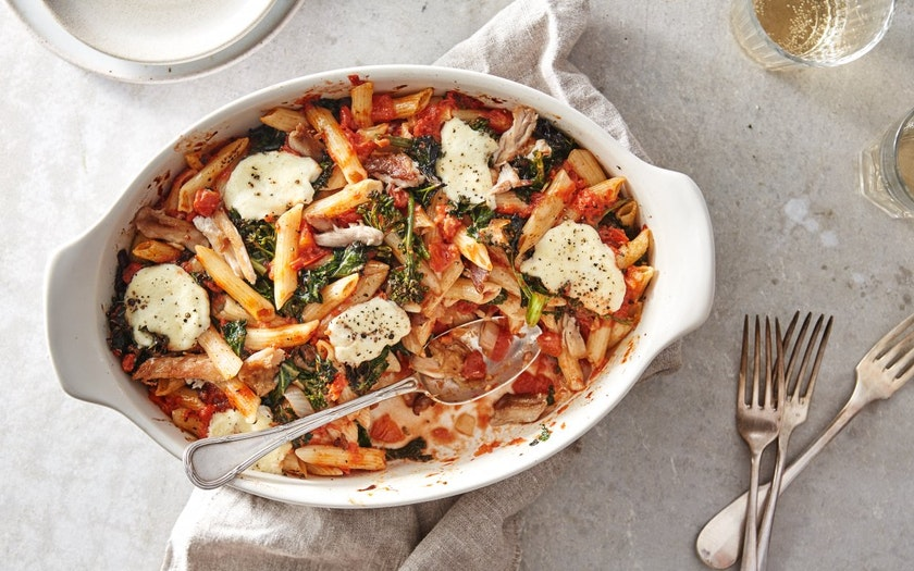 Quick Baked Pasta with Kale & Chicken