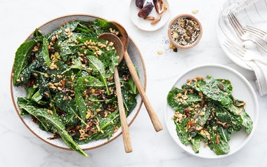 Kale & Farro Salad with Tahini Dressing