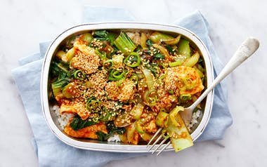 General Tso's Tofu with Bok Choy and Rice