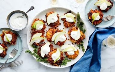 Root Veggie Latkes with Pear & Rosemary