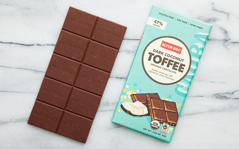 Organic Dark Coconut Toffee Chocolate Bar (47%)
