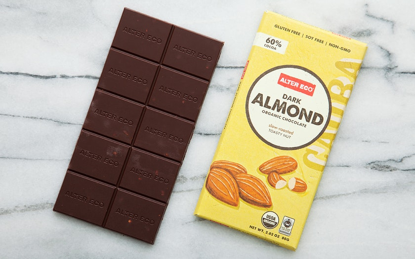 Organic Dark Almond Chocolate Bar (60%)