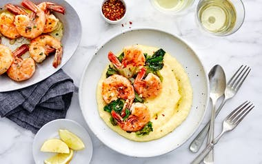 Garlic-Butter Shrimp with Bitter Greens & Creamy Polenta