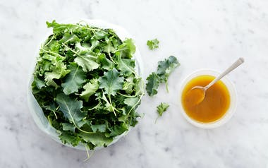 Pre-Washed Baby Kale with Roasted Scallion Vinaigrette