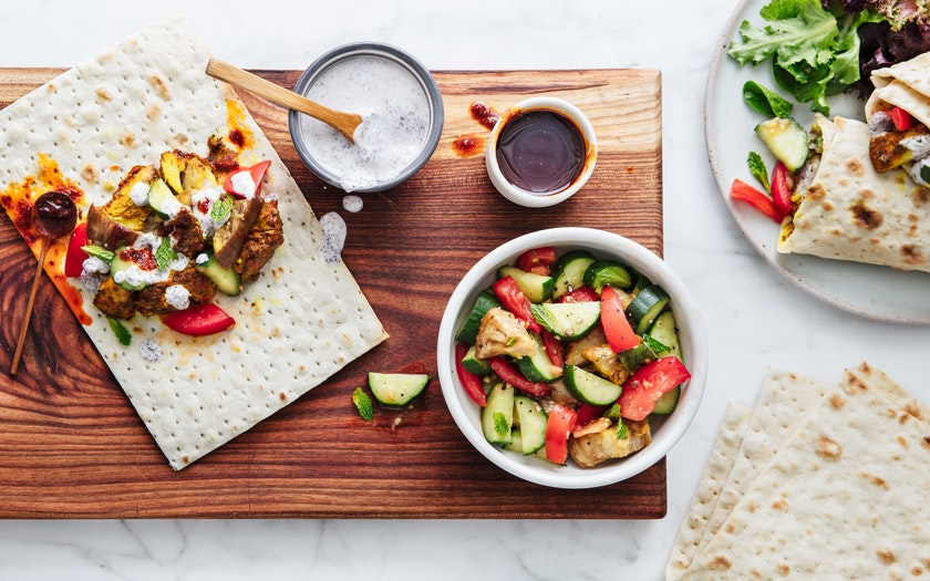 Turmeric Chicken Wrap With Eggplant Tomatoes And Cucumbers Good
