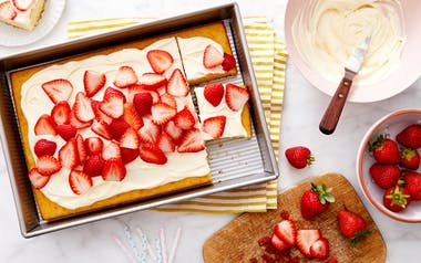 Yellow Sheet Cake with Cream Cheese Frosting & Strawberries