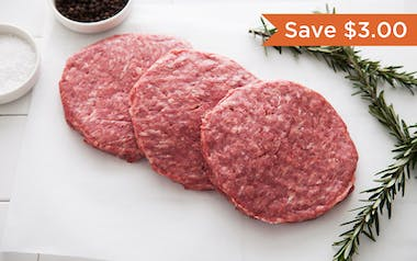 Grass-Fed Beef Burger Patties 3-Pack (Frozen)