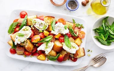 Peach Panzanella with Burrata & Mint