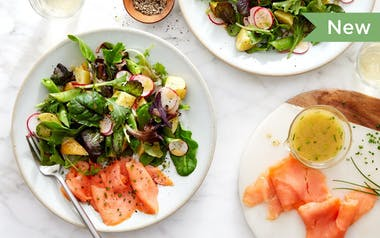 Smoked Salmon Salad with Spring Greens & Chives