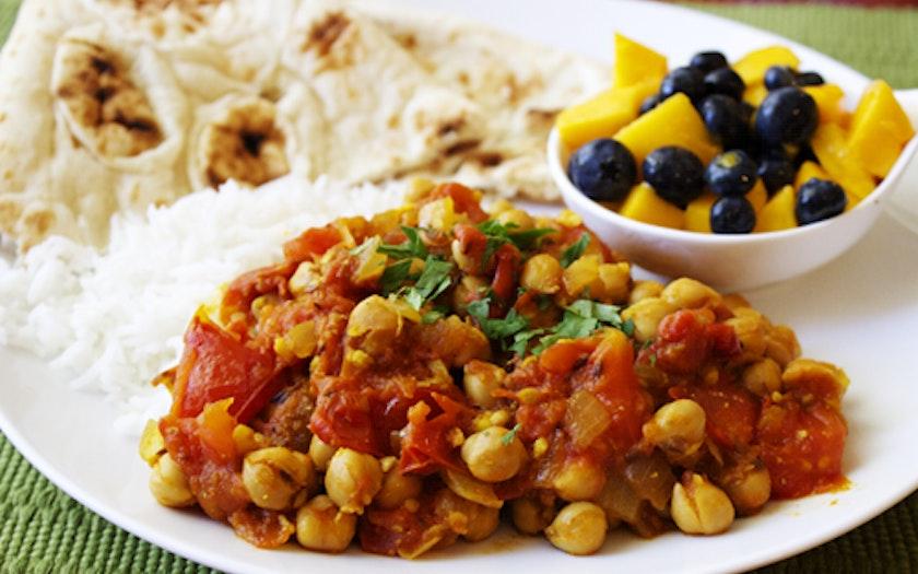 Chana Masala with Rice, Naan, Chutney, and Mango-Blueberry Salad