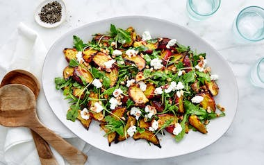 Mustardy Beets with Goat Cheese & Hazelnuts