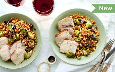 One-Skillet Pork Chop with Mushroom & Barley Salad