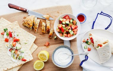 Greek Chicken Wraps with Tomatoes & Cucumber
