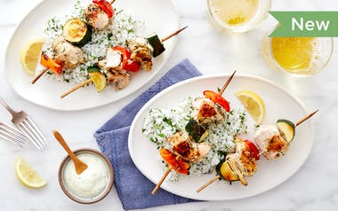 Lemon-Herb Chicken Kebabs with Zucchini & Peppers