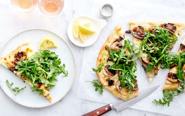 Mushroom Pizza with Burrata & Arugula