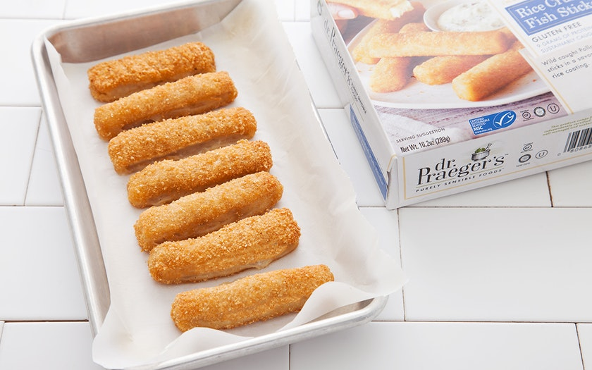 Rice crusted fish sticks gluten free dr praeger 39 s for Are fish sticks good for you
