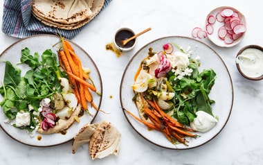 Roasted Vegetable Medley with Hummus & Feta