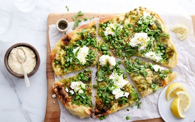 Green Pizza with Peas & Ricotta