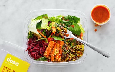 Red Beet, Roasted Carrot & Black Garbanzo Poriyal Salad